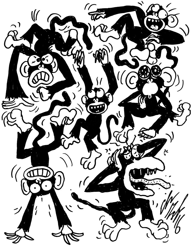 Crazy Monkeys by GroglioArt