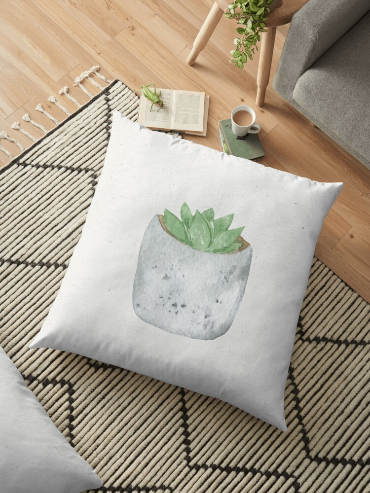 Watercolor succulent plant in pot by MariaMirnaya