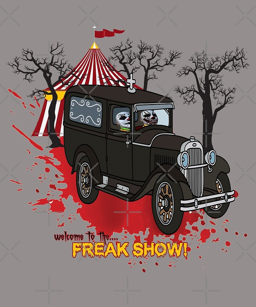 Welcome to the Freak Show - Scary Clowns in Retro Car by Jecolds