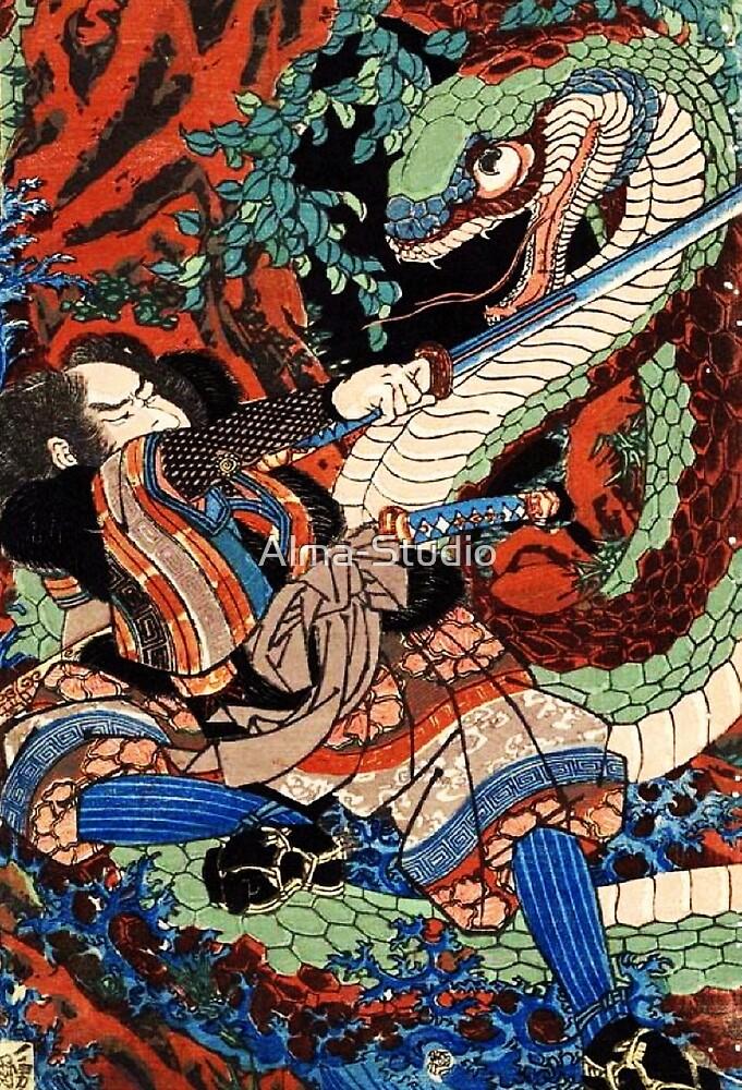 Ukiyo-e Dragon by Alma-Studio