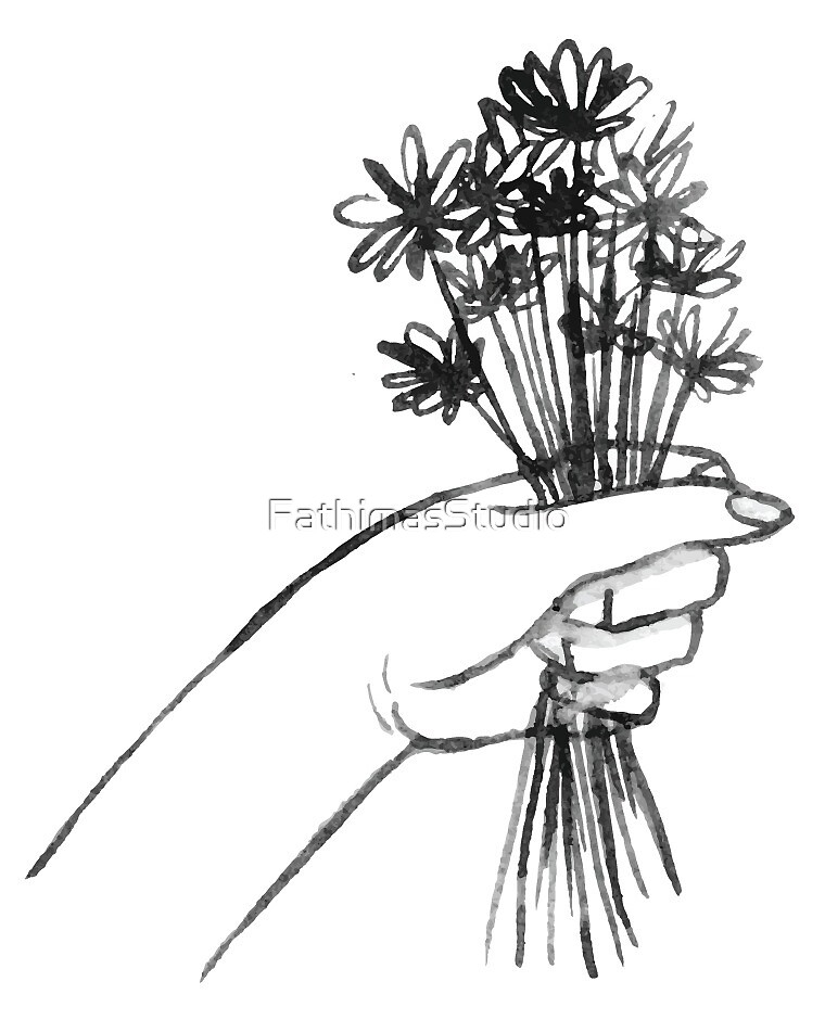 Bunch of Flowers, Black and White by FathimasStudio