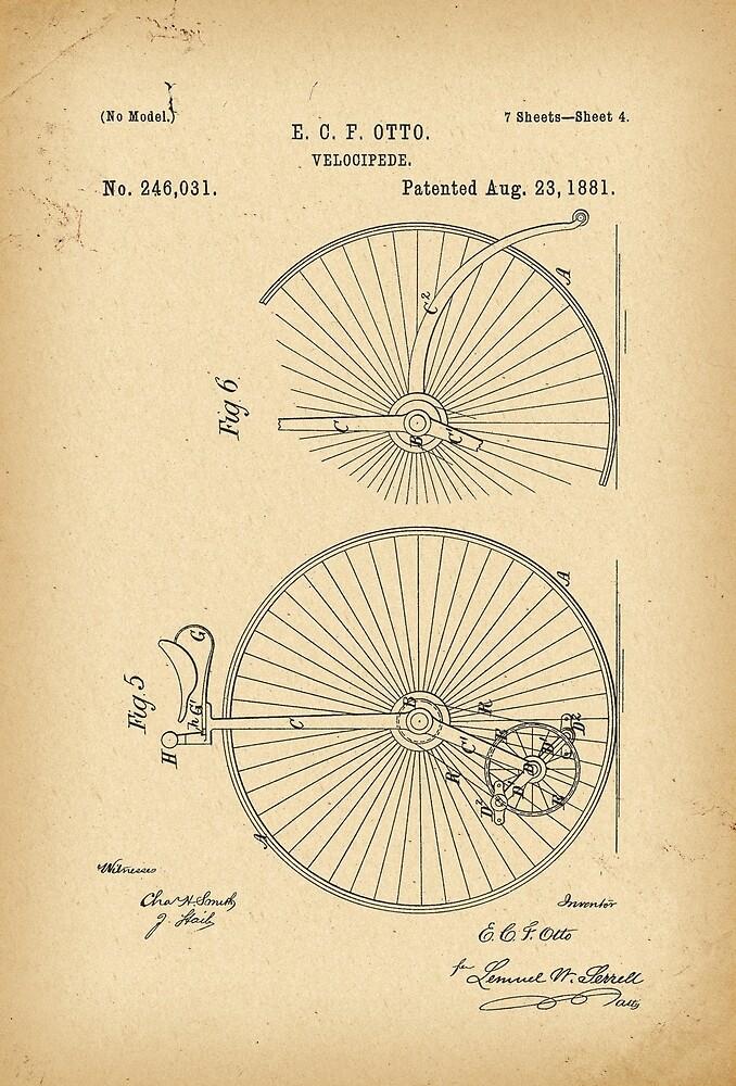 1881 Patent Velocipede Bicycle history innovation by Khokhloma