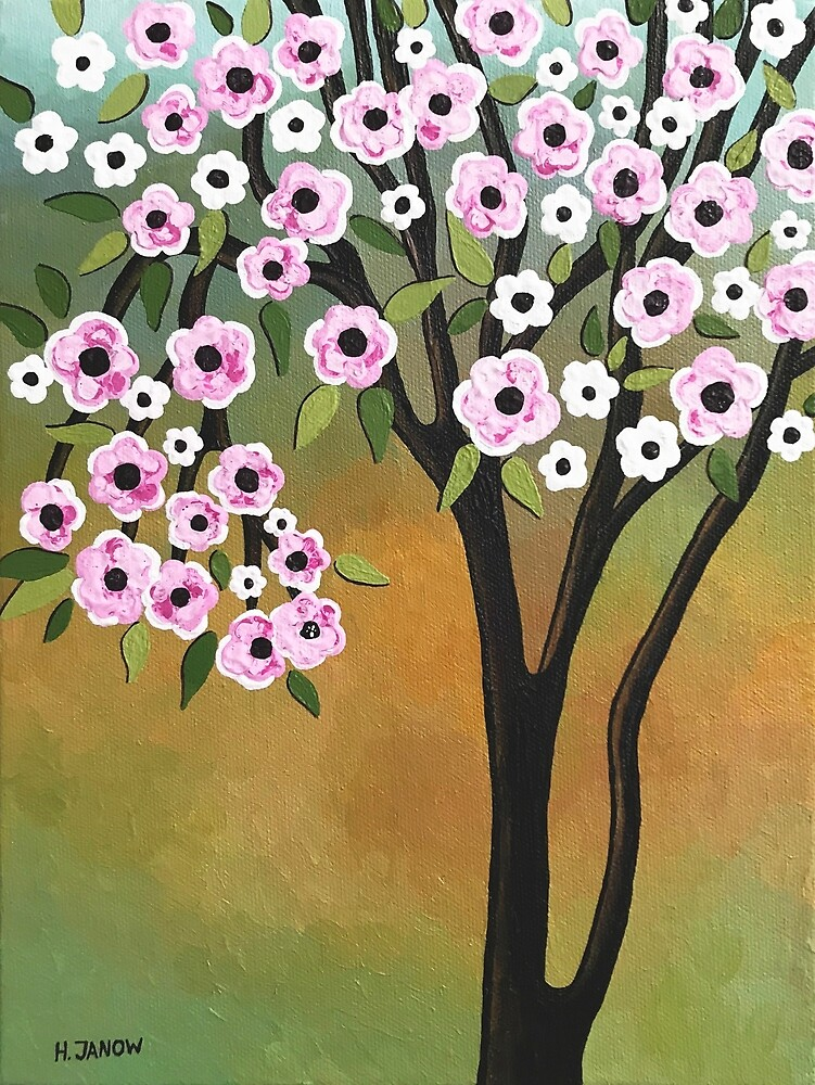 Cherry Blossom Tree of Life Art by Helen Janow Miqueo by hjmart