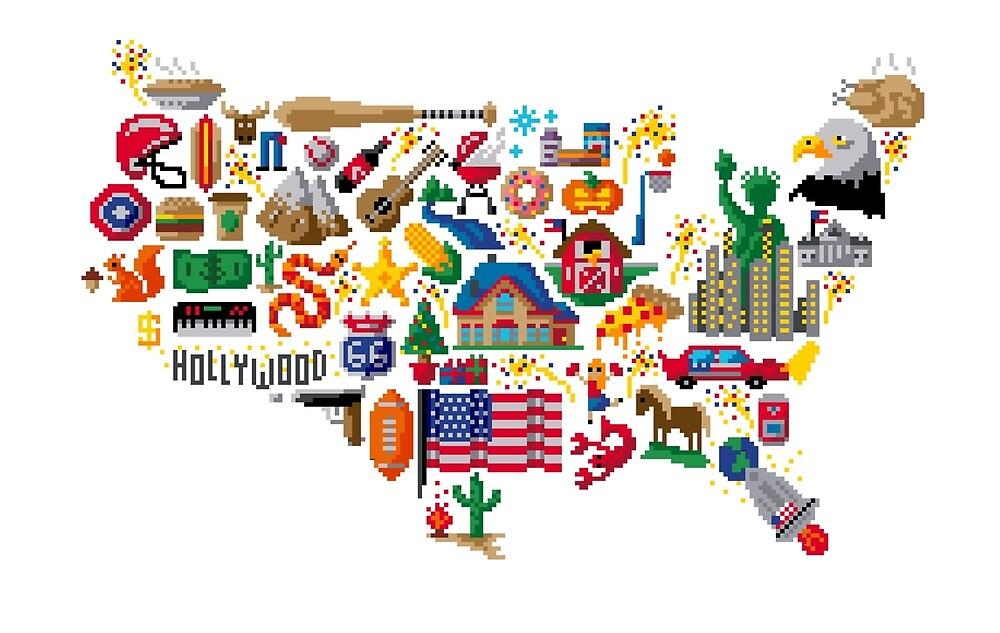 America Map Pixel Art / Icon map Pixel Art by PixlPrints