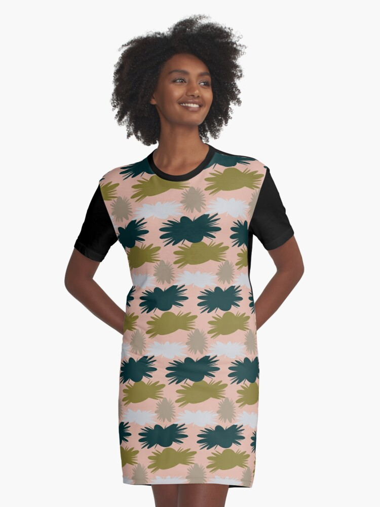 Geo Florals Graphic T-Shirt Dress Front