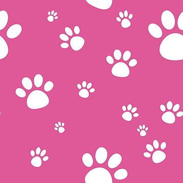 Pink Animal Paw Pattern by adriennecsedi