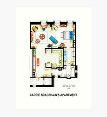 Carrie Bradshaw's Apartment Floorplan v.2 Art Print