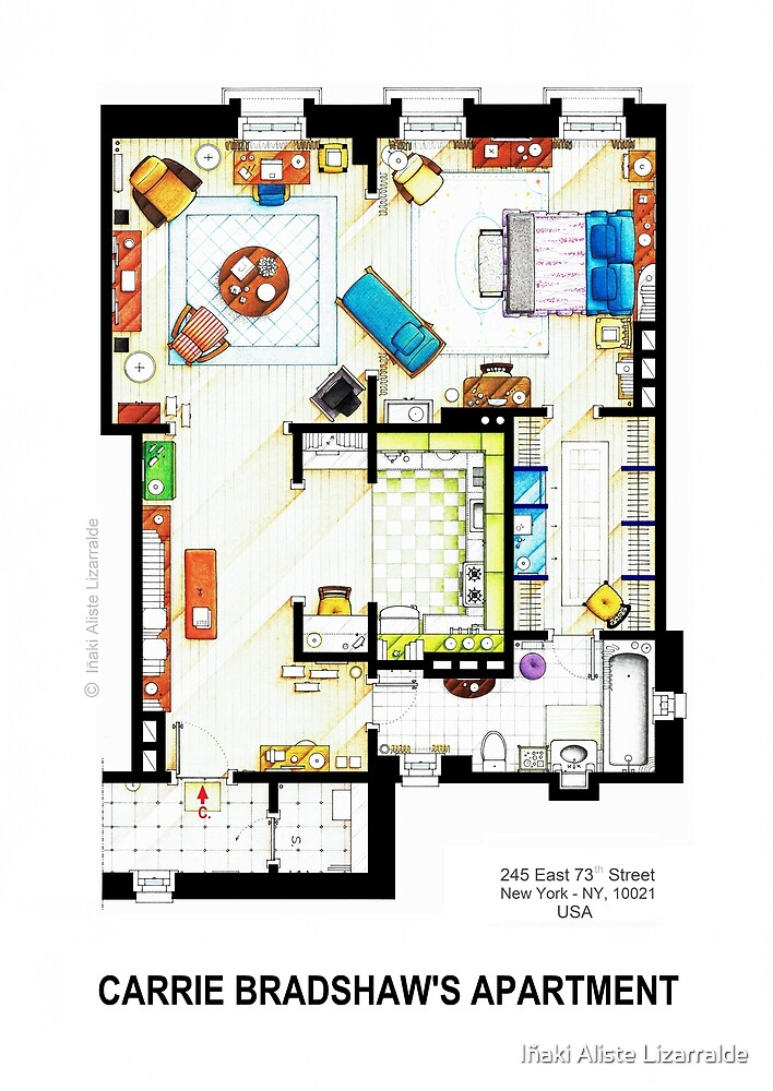 "The Simpsons House Plan >> ""Carrie Bradshaw's Apartment Floorplan v.2"" by Iñaki Aliste Lizarralde 
