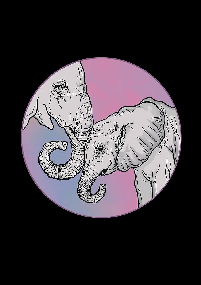 Parent and Child Elephants  by tttttoni