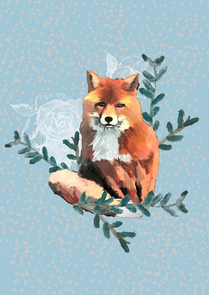 Fox Floral Design by alicedesigns297