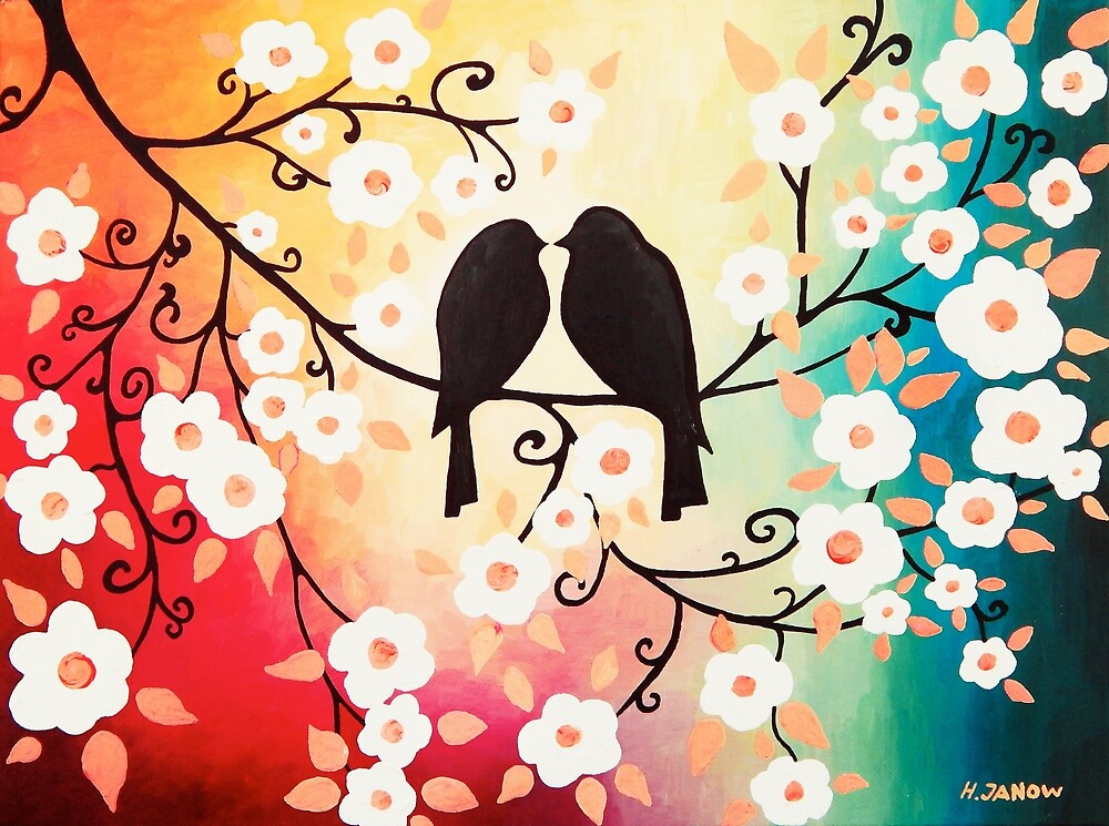 Romantic Love Cherry Blossom Art by Helen Janow Miqueo by hjmart