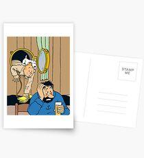 Tintin + Haddock Drink Postcards