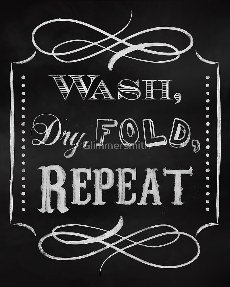Laundry room print, chalkboard wall decor for the home by Glimmersmith