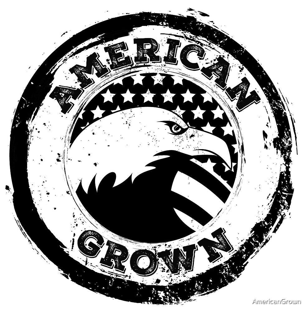 American Eagle Design, American Grown, vintage and distressed design, mono by AmericanGrown