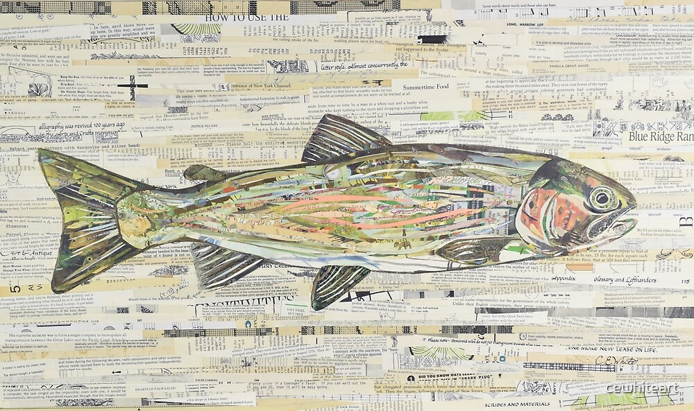 Rainbow Trout Collage by C.E. White  by cewhiteart