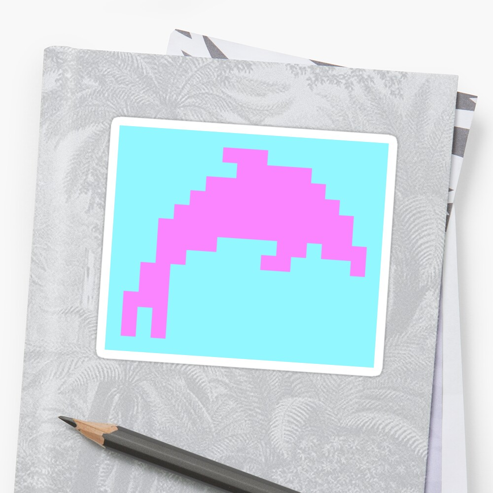 Pixel Art Blue Dolphin Sticker By Haykira