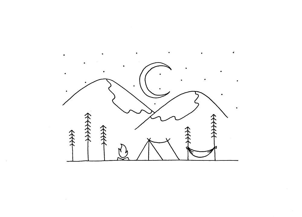 minimal camping scene by ariashi