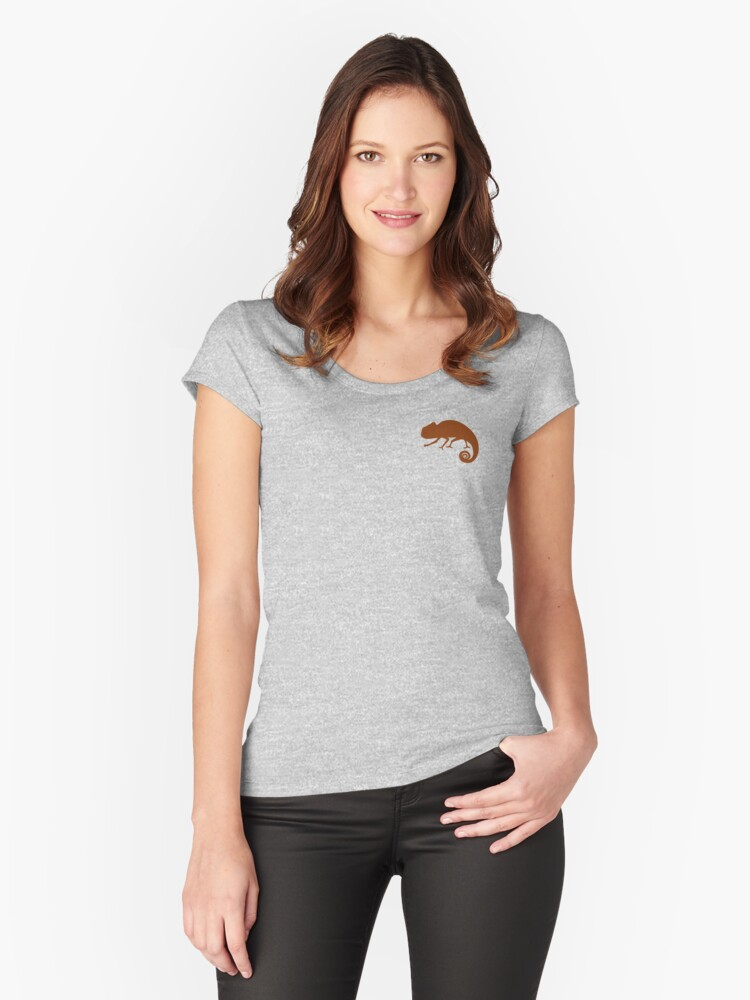 Small Chameleon #cinnamon Women's Fitted Scoop T-Shirt Front