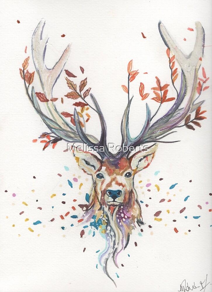 stag deer roebuck red deer buck painting by Melissa Roberts