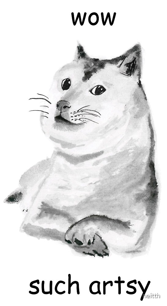 doge meme Shiba inu wow such artsy ink painting by neitth