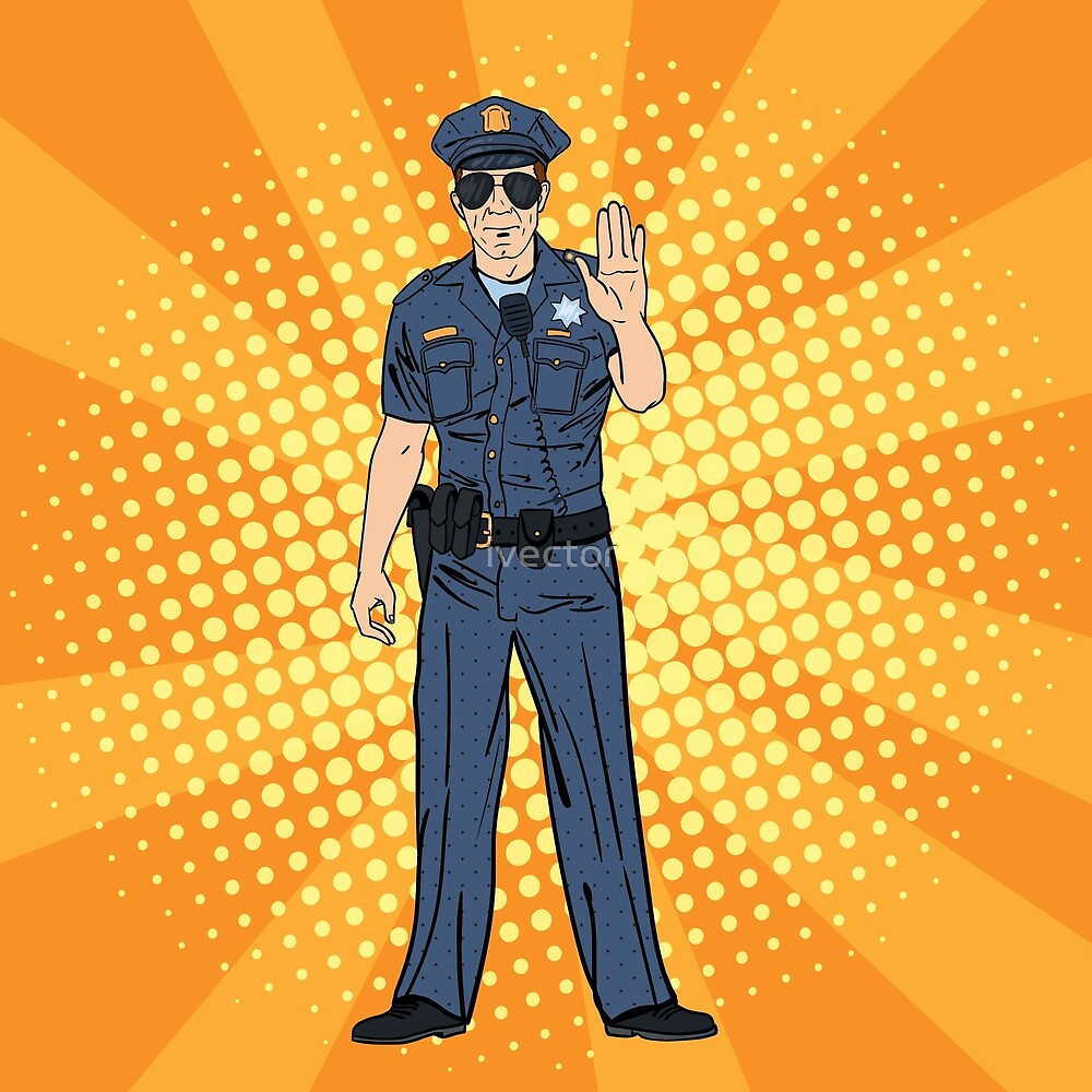 Cool Policeman. Serious Police Officer. Pop Art. by ivector