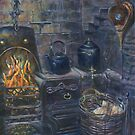 Antique fireplace painting by Marion Yeo