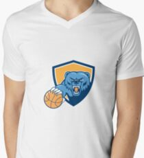 Grizzly Bear Angry Head Basketball Shield Cartoon T-Shirt
