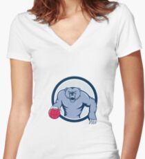 Grizzly Bear Angry Dribbling Basketball Cartoon Women's Fitted V-Neck T-Shirt