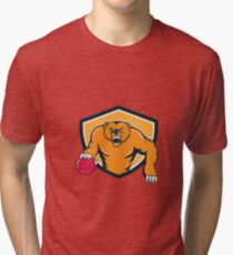 Grizzly Bear Angry Dribbling Basketball Shield Cartoon Tri-blend T-Shirt