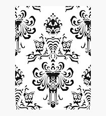 Haunted Mansion Wallpaper Black and White Photographic Print