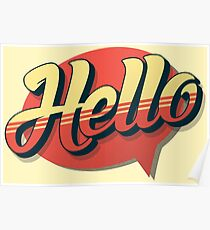 HELLO! RETRO TYPOGRAPHY Poster