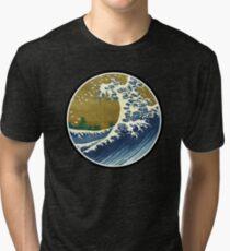 Japanese surf wave Tri-blend T-Shirt