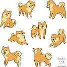 Playful Shiba Inu Sketches by KristyKate