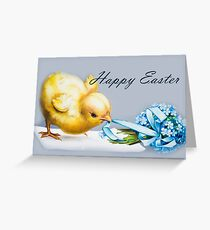 Happy Easter Baby Chick Greeting Vintage Art Greeting Card