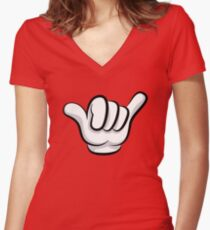 Hang loose. Surf and rock fingers Women's Fitted V-Neck T-Shirt