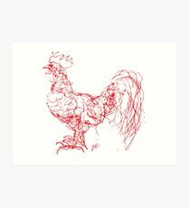 Scribbles the Rooster-Red Outline Art Print