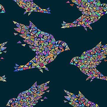 Mosaic bird pattern by InnaPoka