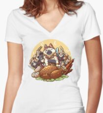 Meowscular Chef Bae Women's Fitted V-Neck T-Shirt