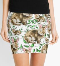 BUNNY RABBITS AND FLOWERS PATTERN Mini Skirt