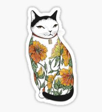 Cat in Tiger Flower Tattoo Sticker