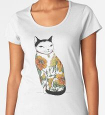 Cat in Tiger Flower Tattoo Women's Premium T-Shirt