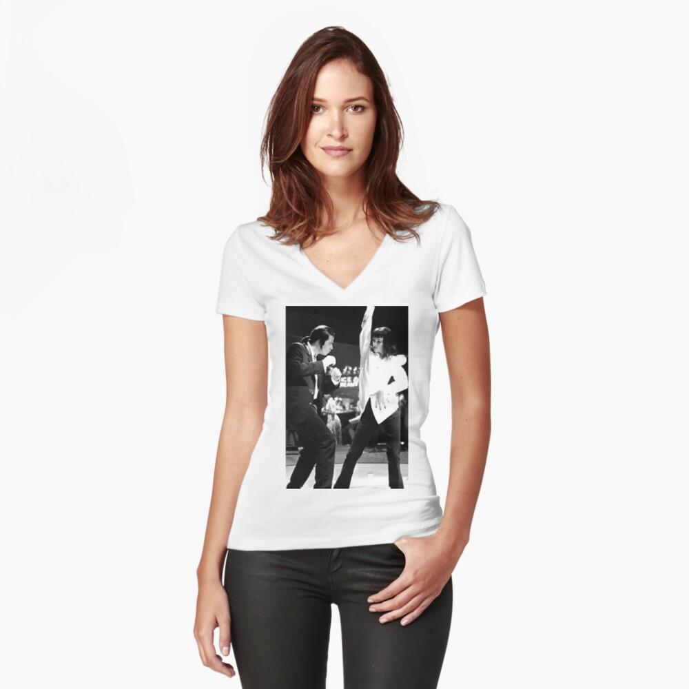 PULP FICTION DANCE Tailliertes T-Shirt mit V-Ausschnitt