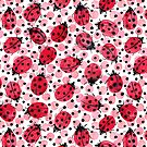 « Coccinelles aquarelles sur des points rouges et noirs » par Rebecca Reck Art