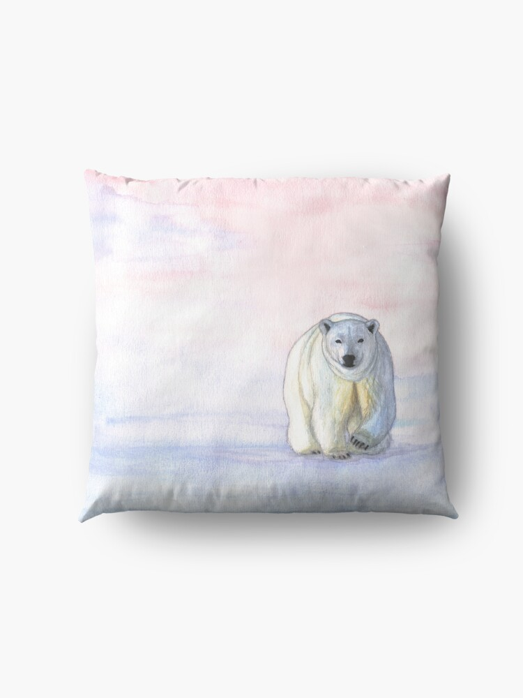 Alternate view of Polar bear in the icy dawn Floor Pillow