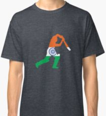 India Flag and Batsman for Cricket Team Fan Classic T-Shirt