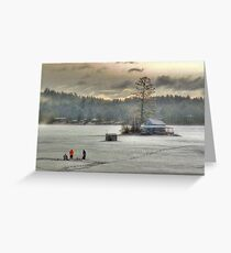 Warm Glow on a Cool Scene - Ice Fishing on Newfound Lake Greeting Card