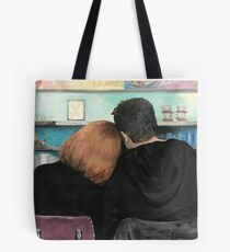 Mulder and Scully in the RM9sbG93ZXjz Diner X Files Original Painting Tote Bag