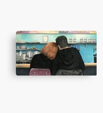 Mulder and Scully in the RM9sbG93ZXjz Diner X Files Original Painting Canvas Print