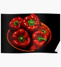 Bowl Of Red Capsicums  Poster