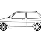 Austin Mini-Metro Outline Drawing by RJWautographics